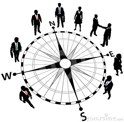 Business people strategy compass directions