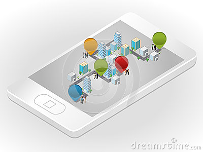 Business people in the street of a isometric city over smartphone