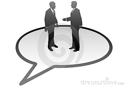 Business people talk communication speech bubble
