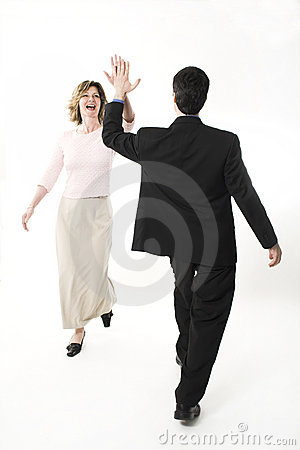 Business people tapping hands