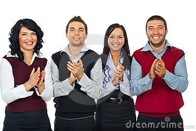 Business people team applauding