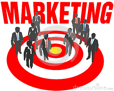 Business people team target marketing