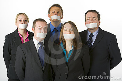 Business People With Their Mouths Taped Shut