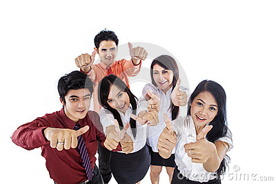 Business people thumbs up