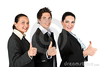 Business people with thumbs up in a line