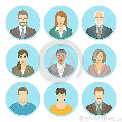 Free Business People Vector Flat Avatars Male And Female Stock Image - 59970281