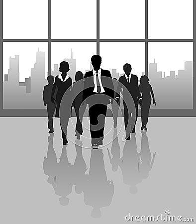 Business people walk city building windows