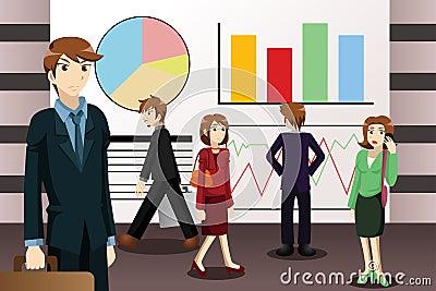 Business people walking among large screens displaying informati