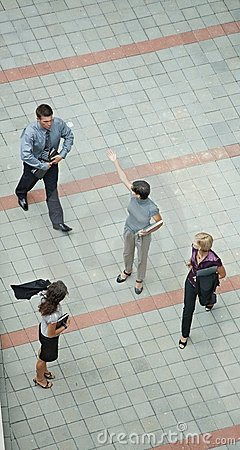 Business people walking overhead view