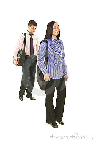 Business people walking to their jobs