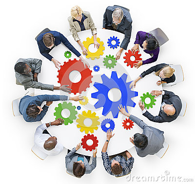Free Business People With Gears And Teamwork Concept Royalty Free Stock Image - 41494406
