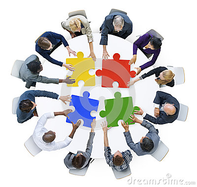 Free Business People With Jigsaw Puzzle And Teamwork Concept Royalty Free Stock Image - 41706796