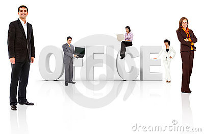 Business people with word office