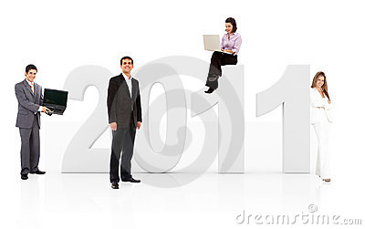 Business people with the year 2011