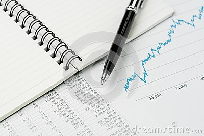 Business perfomance review, budget, economics or investment concept, pen on note book with graph and chart, price numbers report Stock Photo