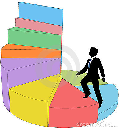 Business person climbs stair step pie chart