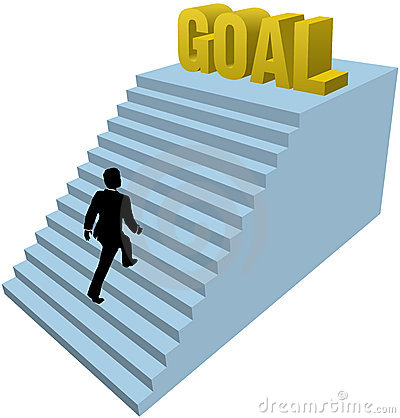 Business person climbs steps achieve goal