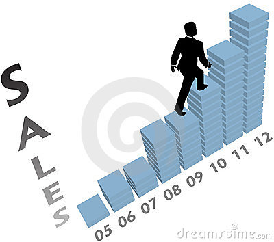 Business person climbs up marketing sales chart