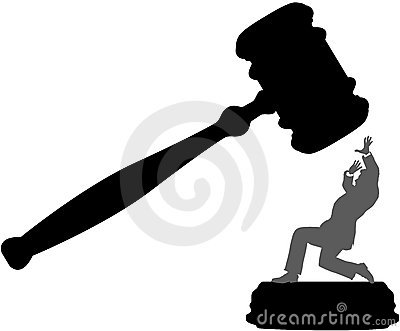 Business person in danger of court injustice gavel