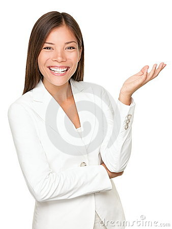 Business person gesturing on white background