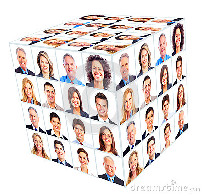Business person group. Cube collage.