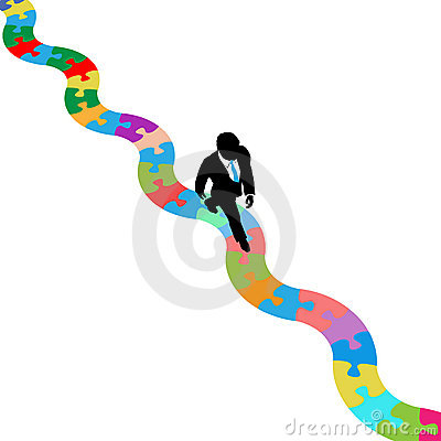Business person walks on puzzling path to solution