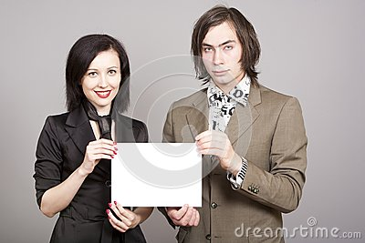 Business person woman man hold a paper