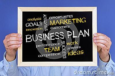 Business plan on chalkboard