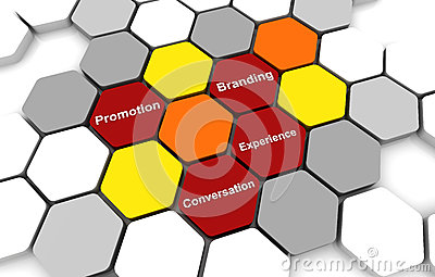 Business Plan Diagram connection beehive background red