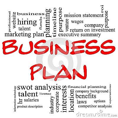 Business Plan Word Cloud in Red & Black