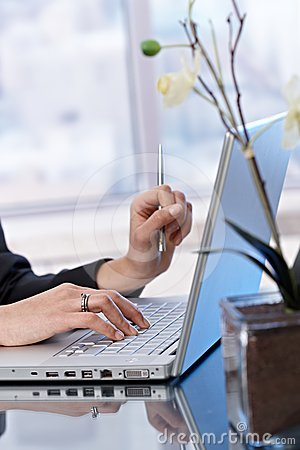 Business portrait of typing on laptop