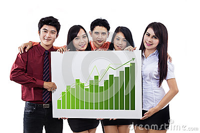 Business presentation and bar chart