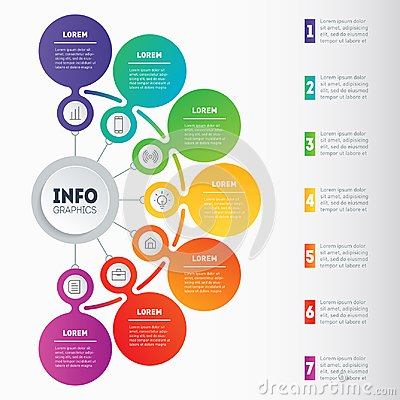 Business presentation or infographic with 7 options. Vector dynamic infographics or mind map of technology or education process. Vector Illustration