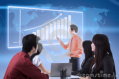 Business presentation with touchscreen chart