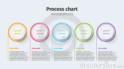 Business process chart infographics with step circles. Circular corporate timeline graphic elements. Company presentation slide te Vector Illustration