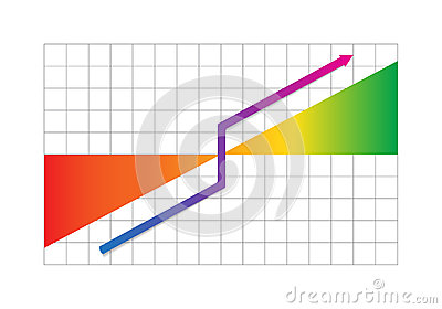 Business progress graph with arrow