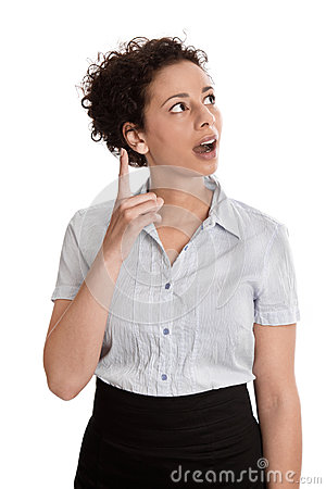 Business question - woman looking up shaking her finger isolated
