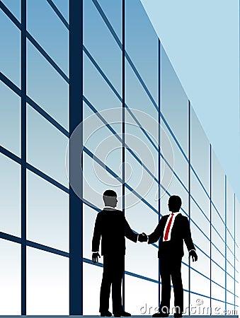 Business relationship handshake building window