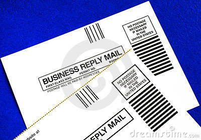 Business reply mails isolated on blue
