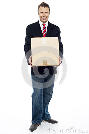 Business representative holding cardboard box