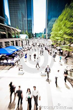 Business rush crowd