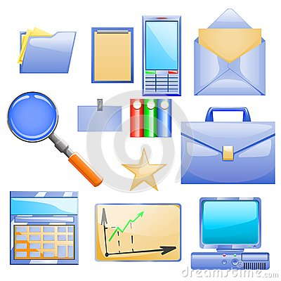 Free Business Set With Different Stuff For Work Royalty Free Stock Images - 35968089