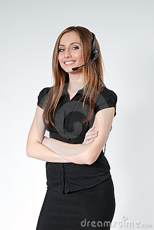 Business - Sexy call center operator isolated