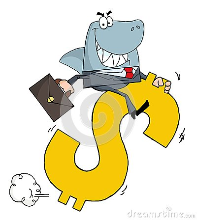 Business shark businessman riding on a dollar