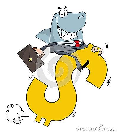 Business shark businessman riding on a dollar