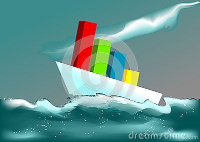 Business ship in a stormy sea