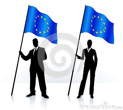 Free Business Silhouettes With Waving Flag Of European Union Stock Image - 36589431