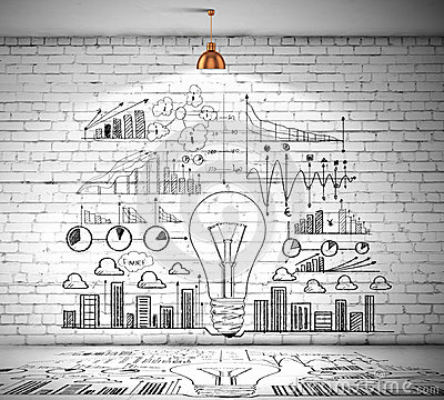 Business Sketch On Wall Royalty Free Stock Photo Image