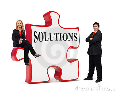 Business solutions puzzle board