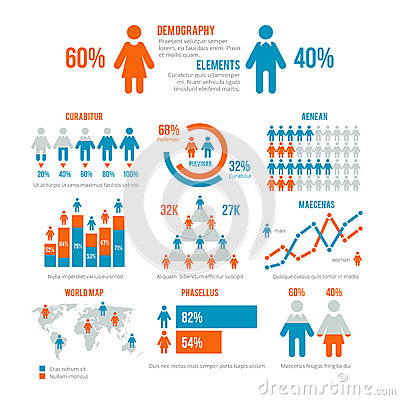 Free Business Statistics Graph, Demographics Population Chart, People Modern Infographic Vector Elements Stock Photos - 88485993